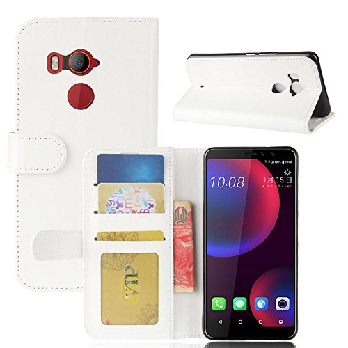 HTC U11 EYES Funda DISLAND [Slim Fit] [Caso de carpeta] Prima PU cuero Flip Stand caso cubierta para HTC U11 EYES,Brown Blanco