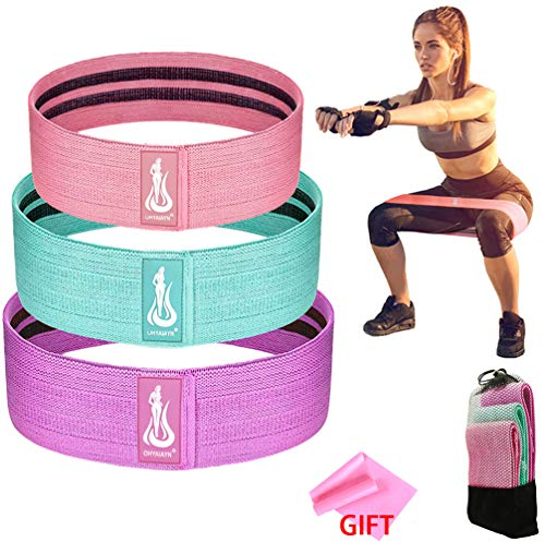 OHYAIAYN Booty Resistance Workout Bands for Legs and Butt - Elastic Fabric Non Slip Hip Bands - Resistance Loop Circle Exercise Bands for Women and Men - Set of 3 (A)