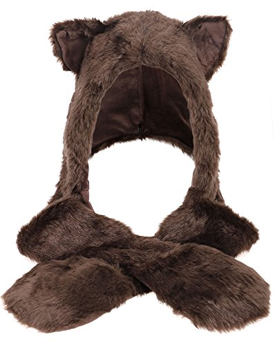 Simplicity 3 in 1 Lovely Animal beanie Cosplay Hats scarf with mittens, Bear (Bear Hood With Paw Scarf)
