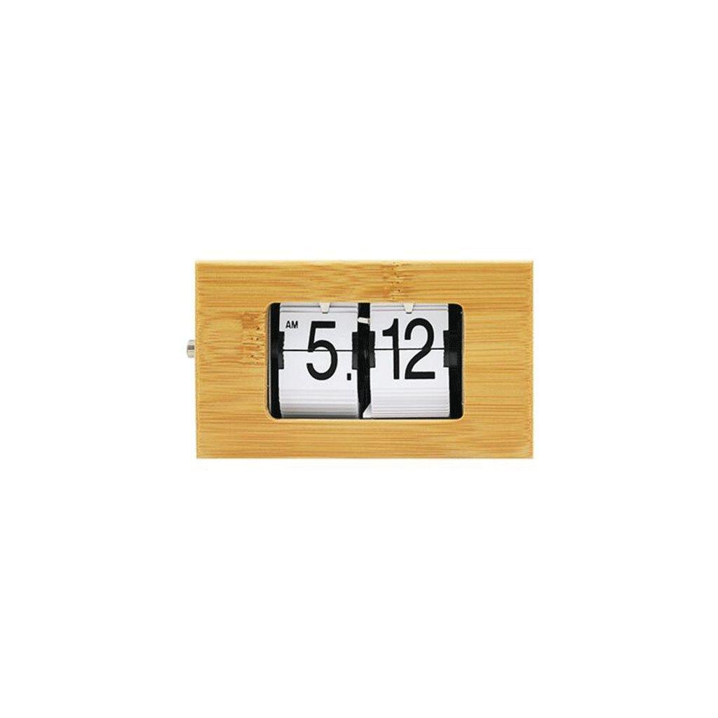 LINGZHIGAN 竹ウッドクリエイティブ自動フリップ時計リビングルーム時計クリエイティブフリップページウォールクロック ( 色 : D ) B07CJQ4FZG D D