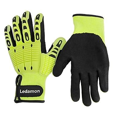 Ledamon Anti-Vibration Impact Resistant Cut Resistant Wear Resistant Mechanic Work Gloves Professional-Grade Protection & Durability