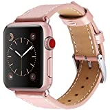 Apple Watch Band 38mm - Crocodile Patterned Genuine Pink Leather with Stainless Metal Clasp by Palestrapro. iWatch Replacement Strap for Series 3 - 2 - 1. Makes Your Watch More Comfortable - Fashionable.