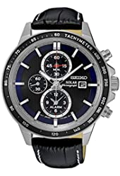 Seiko Solar Chronograph SSC437 Blue Dial Black Leather Band Men's Watch