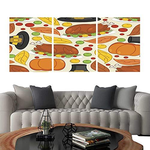UHOO Prints Wall Art PaintingsThanksgiving Seamless Pattern Roasted Turkey and Fresh Pumpkin Customizable Wall Stickers 12