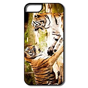 Fashion Tigers Playing Game Plastic Cover For IPhone 5/5s
