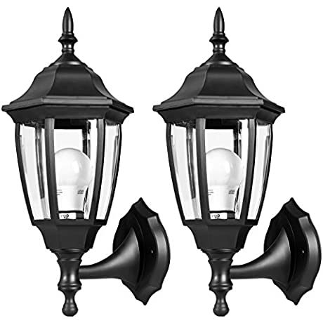 EMART Outdoor Porch Light LED Exterior Wall Light Fixtures Special Handling Anti Corrosion Durable Plastic Material Waterproof Security Lamp For Wall Garage Front Porch 2 Pack
