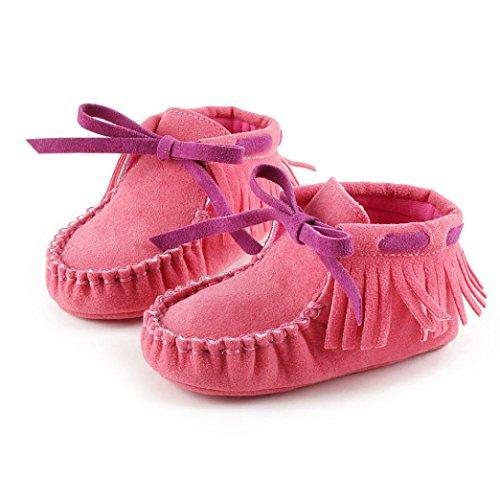 Tefamore zapatos primeros pasos de bebes de antideslizante de sole suave de moda invierno de calentar Rojo de la sandía