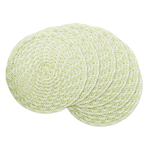 DII Round Woven, Indoor & Outdoor Braided Placemat or Charger, Set of 6, Garden Leaf
