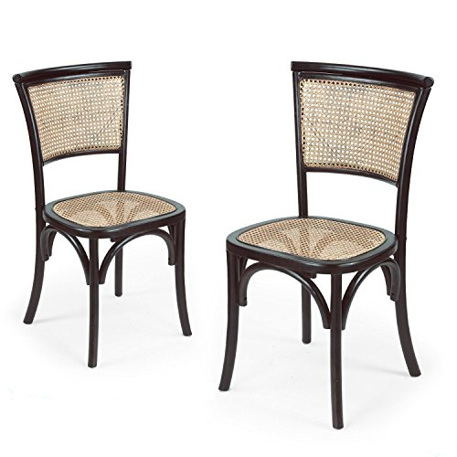 Merveilleux Joveco Elm Wood Antique Vintage Rattan Solid Dining Chair   Set Of 2  (Black) Wholesale Price Available