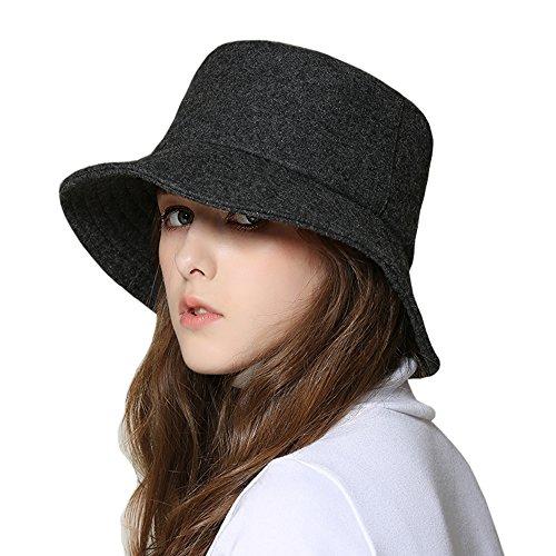 kekolin Female Style Hat Wool Felt Bucket Hat Winter Fall (Wool Hat Bucket)