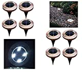 cheerfullus Bronze 4led Solar Ground Lights,8PCS Garden Pathway Lights Outdoor Waterproof Lamp Landscape Lighting Driveway,Deck,Garden,Yard,Lawn - White