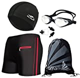 Men's Swimwear Suits, Swim Shorts + Swim Goggles + Swimming Cap + Swimsuit Nose Clip and Ear Plugs + Beach Store Bag, 1# Black + Red, Tag Size XL = US S