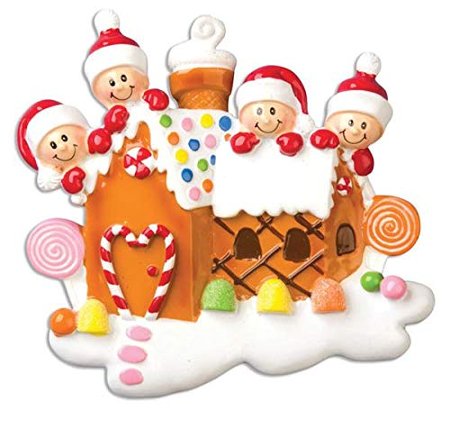 Polar X Gingerbread House with 4 Personalized Christmas Ornament (Family ()