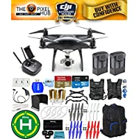 DJI Phantom 4 Pro Black Obsidian Edition Drone PRO BUNDLE With Black/Blue Backpack, Vest Strap, Extra Props, Filter Kit Plus Much More (2 Batteries)