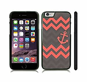 iStar Cases? iPhone 6 Plus Case with Chevron Pattern Salmon/ Charcoal Grey Stripes Salmon Anchor , Snap-on Cover, Hard Carrying Case (Black)