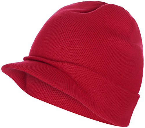 BODY STRENTH Red Beanie Winter Hat With Brim Visor Hats newsboy Cap For Men and (Red Beanie Visor)