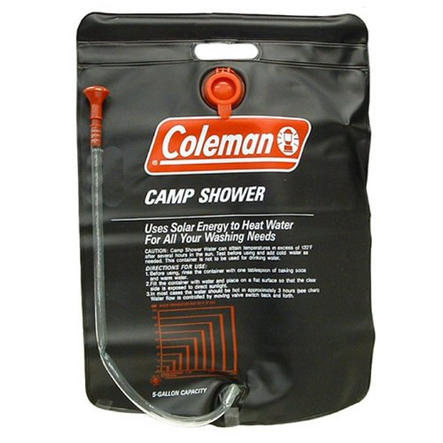 (2) Coleman 5 Gallon PVC Solar Heated Water Camp Showers - With On/Off Valve