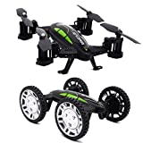 Tecesy FY602 2.4Ghz RC Car and RC Quadcopter Dual Modes Indoor/Outdoor Flying Car Drone, Easy to Fly with Headless Mode and Altitude Hold Functions - Black (without Camera)