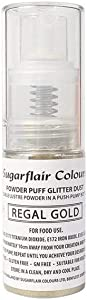 Sugarflair Powder Puff Glitter Dust Spray - Regal Gold 10g