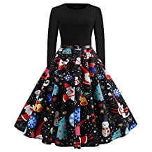 Hanican Christmas Women's Long Sleeve Dress Xmas Printing Vintage Gown Evening Party Dress with Belt