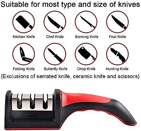 TUKNON Afilador de Cuchillos,Afilador de Cuchillos Profesional,3 Etapas Knife Sharpener, 3 En 1 Afilador De Cocina Manual, para Cuchillos Y Tijeras