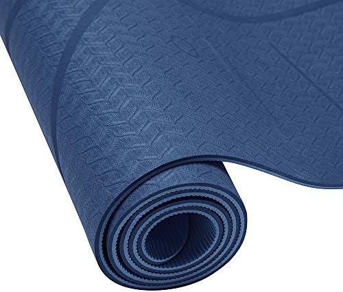 Yoga Mat, Tapete de Yoga, Estera de Yoga, 6mm Eco Friendly Pilates Mat, Colchoneta de Yoga Extra Larga y Ecológica Colchón de Ejercicios Antideslizante Esterilla de Entrenamiento para Pilates y Yoga con un Sistema de Alineación Corporal 7