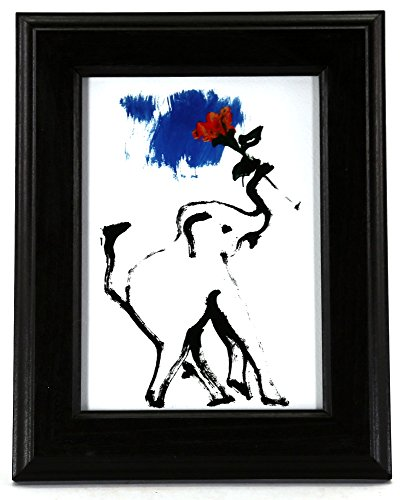 Thai Elephant Painting Framed - Blue Skys 5'' x 7'' Print by Gifts With A Cause