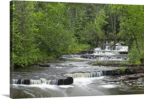 Susan Dykstra Premium Thick Wrap Canvas Wall Art Print Entitled Cascading Falls Along A Creek  Thunder Bay  Ontario  Canada