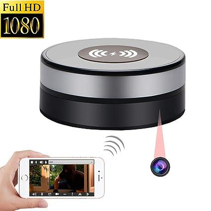 Cámara Oculta WiFi 1080P HD Cámara espía Cargador inalámbrico Lente 90 ° Girar Grabadora de Video