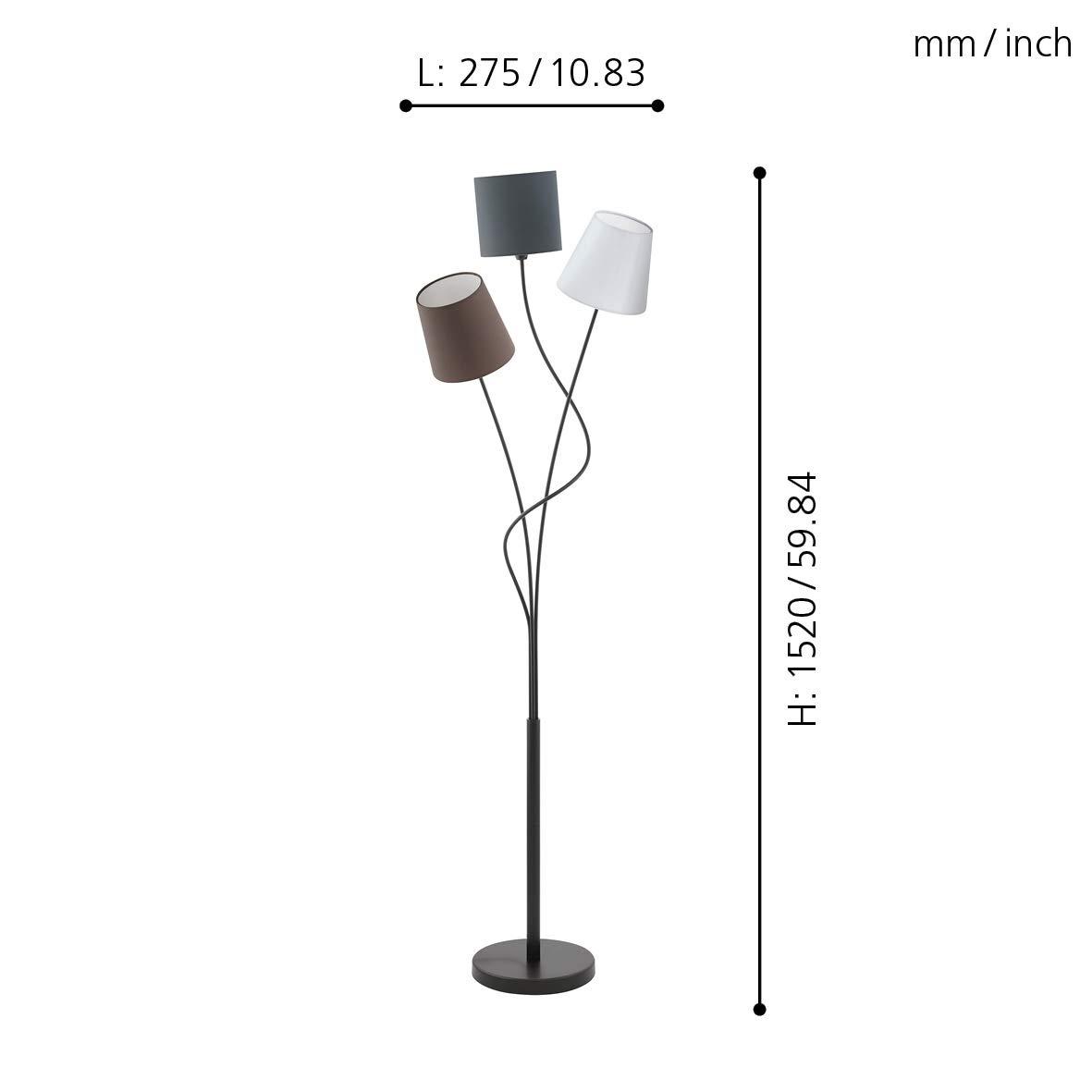 Moderne Design Stehlampe f/ür das Wohnzimmer 163x40x35cm gro/ße Standleuchte mit filigranen Stahl Schirmen, H//B//T schwarze Leselampe Kare Design Stehleuchte Flexible Black Cinque