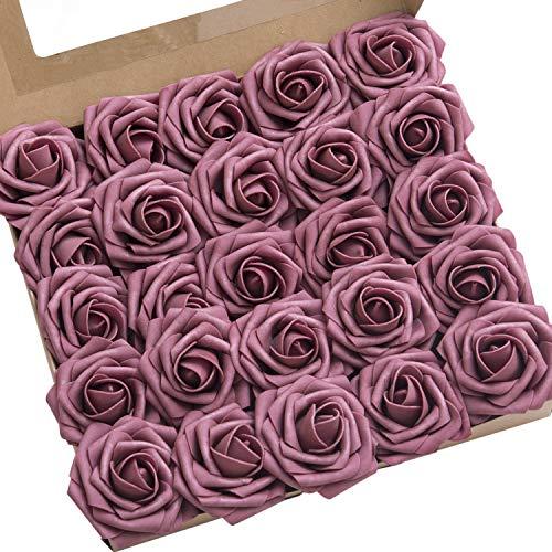 Ling's moment Roses Artificial Flowers 25pcs Realistic Mauve Roses with Stem for DIY Wedding Centerpieces Bouquets Arrangements Flower Decorations]()