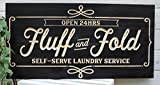 Artis Designs Fluff and Fold Laundry Room Sign Wood Carved (Espresso) For Sale