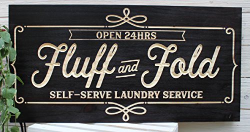Artis Designs Fluff and Fold Laundry Room Sign Wood Carved (Black)