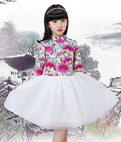 Tutu Costume Rental (Minlovely Pretty Kids Girls Long Sleeve Frog Button Cheongsam Dress Chinese Qipao Floral Tutu 15 Lotus PurpleSmall / 4)