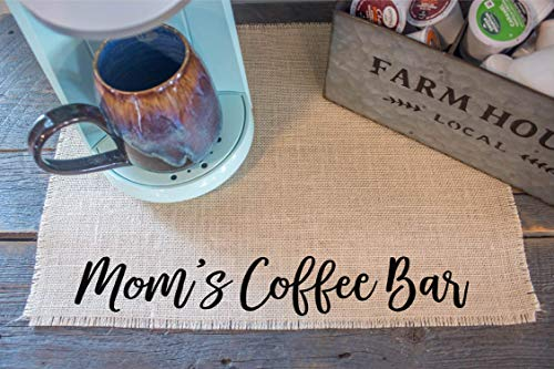Vinyl Country Placemat - Mom's Coffee Bar - burlap coffee maker placemat