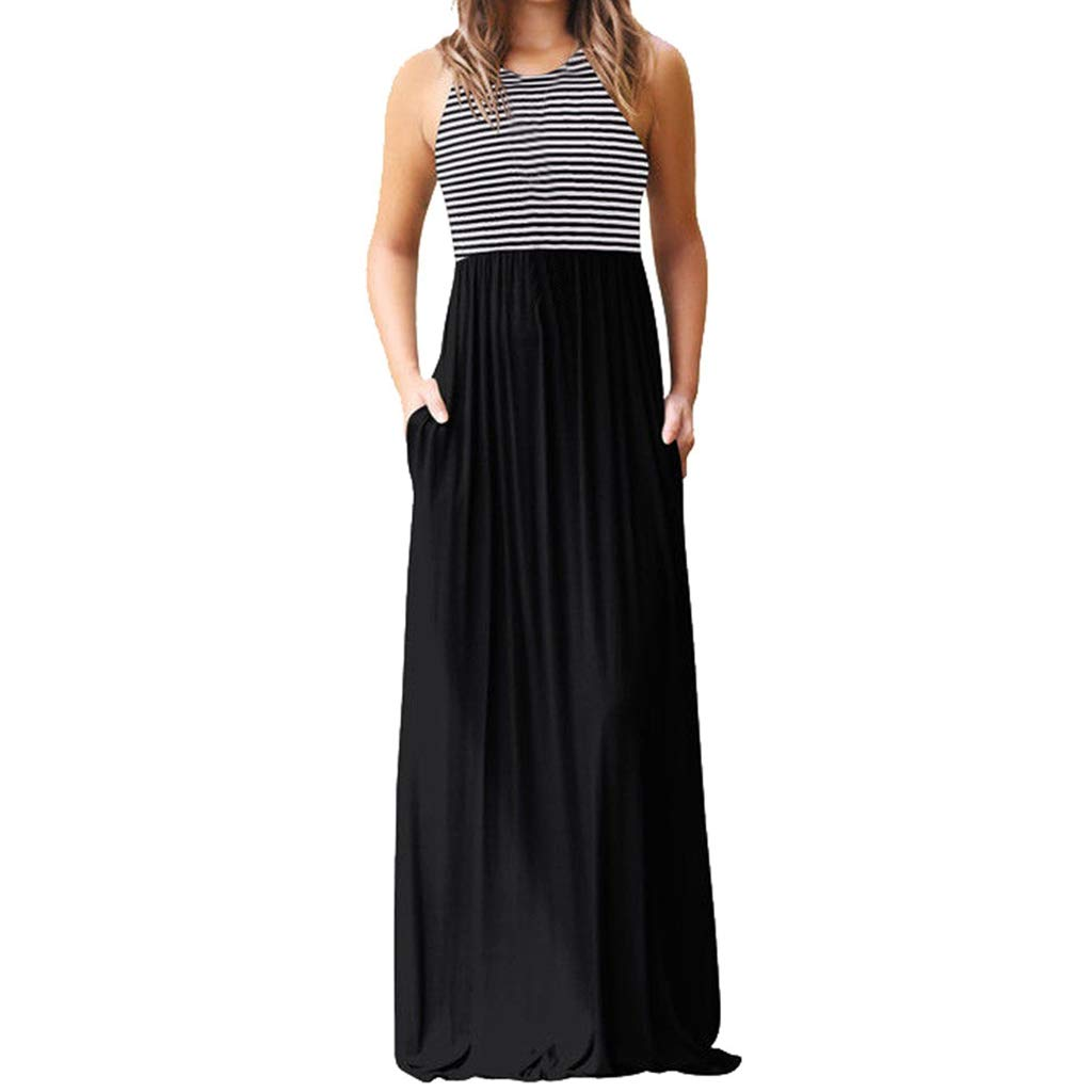 Summer Dresses for Women Maxi Ladies Casual Sleeveless Print Striped Long Dress for Party Beach Black