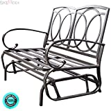 SKEMiDEX Glider Outdoor Patio Rocking Bench Loveseat Cushioned Seat Steel Frame Furniture. Perfect for deck your patio, garden, lawn, backyard and pool side