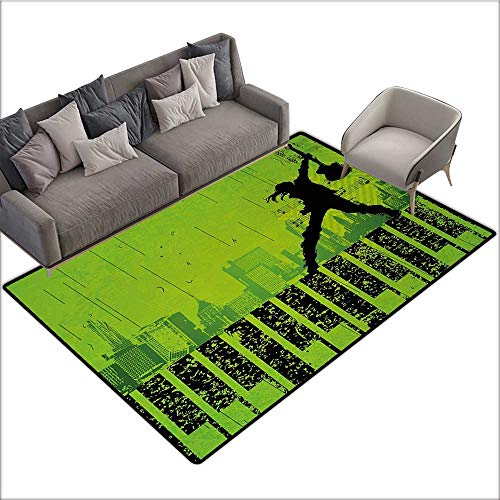 Popstar Party Decorative Floor mat Music in The City Theme Singer with Electric Guitar on Grunge Backdrop 70