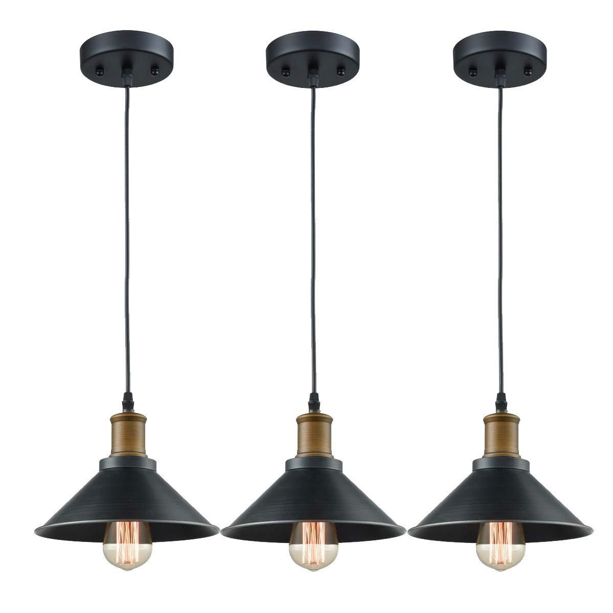 Industrial farmhouse pendant light set of 3.