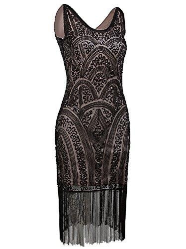 - Vijiv 1920s Vintage Inspired Sequin Embellished Fringe Prom Gatsby Flapper Dress, Medium, Black Beige