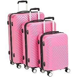 AmazonBasics 3 Piece Geometric Hard Shell Expandable Luggage Spinner Suitcase Set - Pink