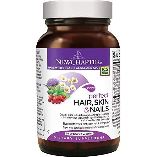 New Chapter Perfect Hair Skin and Nails Vitamins with Fermented Biotin + Astaxanthin - 60 ct Vegetarian Capsule