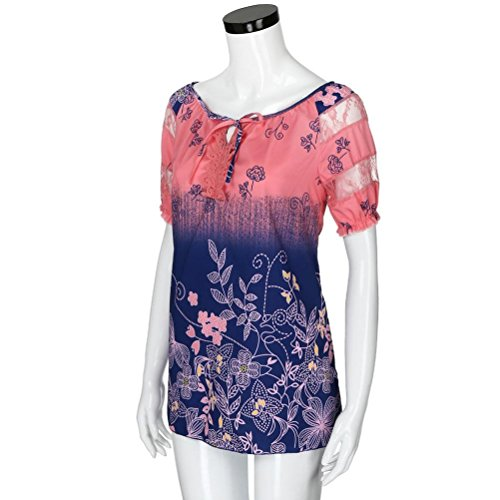 Fleurs Chemisier Rond Watermelonred Courtes Manches Chemise Femme Col KaloryWee Body atSdd
