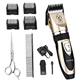 Professional Dog Clippers, Pet Clippers Haircut Low Noise,Pet Grooming Clipper Tool,Rechargeable Cordless, Electric Pet Hair Fur Trimmer Remover Cutter Shaver,Comb Scissors for Dogs Cats Horses(Gold)