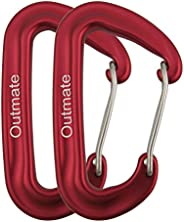 Outmate Carabiner Clip,12kN Aluminium Alloy Carabiners,Heavy Duty Clips 2645lbs/1200kg,Perfect Gear for Hammoc