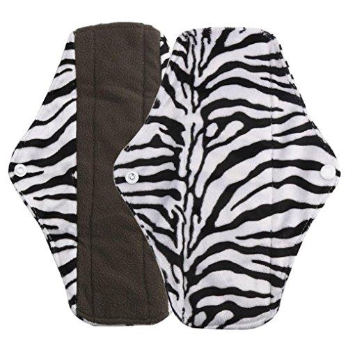 DZT1968 Women girl Reusable Bamboo Cloth Washable Menstrual Pad Mama Sanitary Towel Pad (L, black)