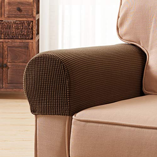 2 Arm Recliner (Subrtex Spandex Stretch Fabric Armrest Covers Anti-Slip Furniture Protector Armchair Slipcovers for Recliner Sofa Set of 2(Coffee))