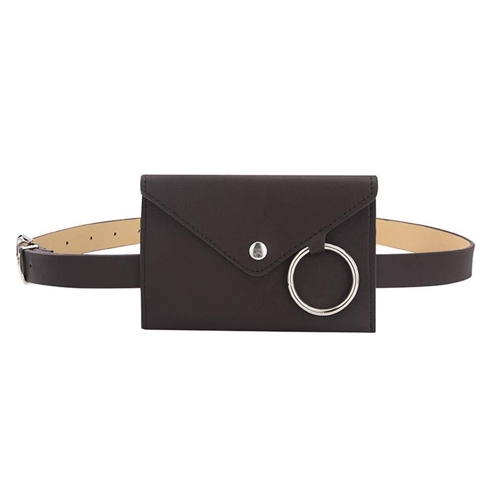 B2keevin Women Multifunction Pure Color Leather Belt Pocket Wallet Phone Bag Card Package