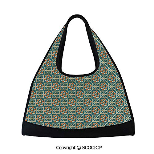 Short distance travel bag,Arabesque Flower Decorations Daffodils Ancient Old Framework Artsy,Easy to Carry(18.5x6.7x20 in) Teal Orange