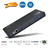 SIIG USB Type C 4K Dual Video Docking Station - Dual 4K@60HZ - Single 5K@60Hz - Thunderbolt 3 Compatible - DisplayLink Display Technology - 2 HDMI & 2 DVI Outputs, Gigabit Ethernet, 6 USB 3.0 Ports